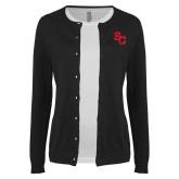 Ladies Black Cardigan-SC Interlocking
