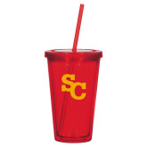 Madison Double Wall Red Tumbler w/Straw 16oz-SC Interlocking