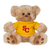 Plush Big Paw 8 1/2 inch Brown Bear w/Gold Shirt-SC Interlocking