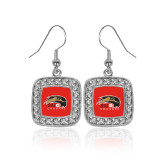 Crystal Studded Square Pendant Silver Dangle Earrings-SIUE Cougars Official Logo