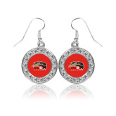 Crystal Studded Round Pendant Silver Dangle Earrings-SIUE Cougars Official Logo
