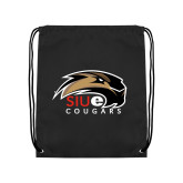 Black Drawstring Backpack-SIUE Cougars Official Logo