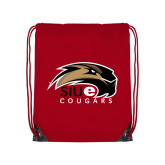 Nylon Red Drawstring Backpack-SIUE Cougars Official Logo