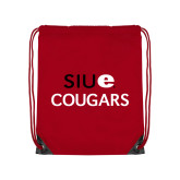 Nylon Red Drawstring Backpack-SIUE Cougars Stacked