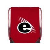 Red Drawstring Backpack-e Slash Mark