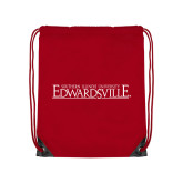 Red Drawstring Backpack-Institutional Mark