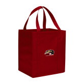 Non Woven Red Grocery Tote-SIUE Cougars Official Logo