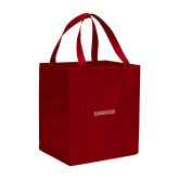 Non Woven Red Grocery Tote-Institutional Mark