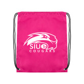 Pink Drawstring Backpack-SIUE Cougars Official Logo