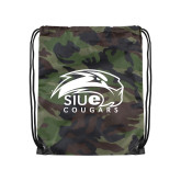 Nylon Camo Drawstring Backpack-SIUE Cougars Official Logo