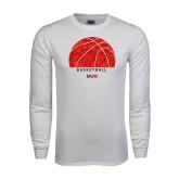 White Long Sleeve T Shirt-Basketball Texture Ball