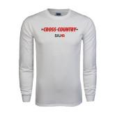 White Long Sleeve T Shirt-Cross Country Arrow