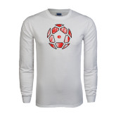 White Long Sleeve T Shirt-Geometric Soccer Ball