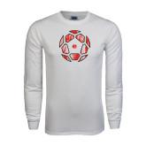 White Long Sleeve T Shirt-Geometric Soccer Ball