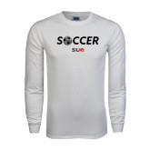 White Long Sleeve T Shirt-Soccer Halftone Ball