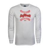 White Long Sleeve T Shirt-Softball Seams