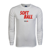 White Long Sleeve T Shirt-Softball Polygon Text