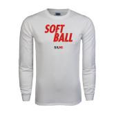 White Long Sleeve T Shirt-Softball Polygon Text