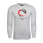 White Long Sleeve T Shirt-Abstract Tennis Ball
