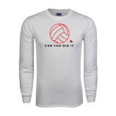 White Long Sleeve T Shirt-Volleyball Can You Dig It