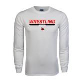 White Long Sleeve T Shirt-Wrestling Bar