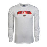 White Long Sleeve T Shirt-Wrestling Arched
