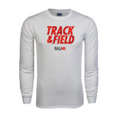 White Long Sleeve T Shirt-Track and Field Polygon Texture