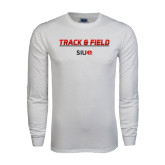 White Long Sleeve T Shirt-Track and Field Lines