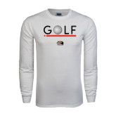 White Long Sleeve T Shirt-Golf Star and Stripes