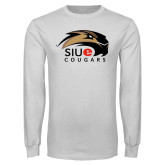 White Long Sleeve T Shirt-SIUE Cougars Official Logo