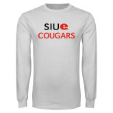 White Long Sleeve T Shirt-SIUE Cougars Stacked