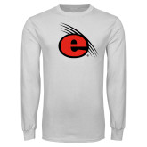 White Long Sleeve T Shirt-e Slash Mark
