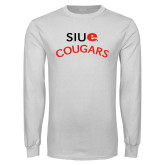 White Long Sleeve T Shirt-SIUE Arched Cougars
