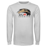 White Long Sleeve T Shirt-SIUE Cougars Official Logo Distressed