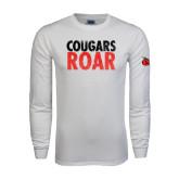 White Long Sleeve T Shirt-Cougars Roar