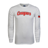 White Long Sleeve T Shirt-Distressed Scripted Cougars