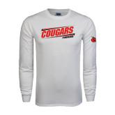 White Long Sleeve T Shirt-Cougars #SIUENATION