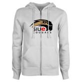 ENZA Ladies White Fleece Full Zip Hoodie-SIUE Cougars Official Logo