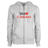 ENZA Ladies White Fleece Full Zip Hoodie-SIUE Cougars Stacked