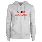 ENZA Ladies White Fleece Full Zip Hoodie-SIUE Cougars Stacked