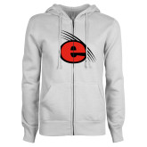 ENZA Ladies White Fleece Full Zip Hoodie-e Slash Mark
