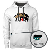 Contemporary Sofspun White Hoodie-SIUE Cougars Official Logo