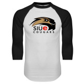 White/Black Raglan Baseball T-Shirt-SIUE Cougars Official Logo