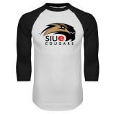 White/Black Raglan Baseball T-Shirt-SIUE Cougars Official Logo