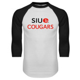 White/Black Raglan Baseball T-Shirt-SIUE Cougars Stacked