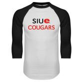 White/Black Raglan Baseball T-Shirt-SIUE Cougars Stacked