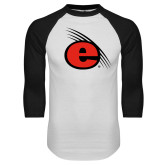 White/Black Raglan Baseball T-Shirt-e Slash Mark