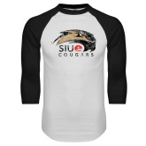 White/Black Raglan Baseball T-Shirt-SIUE Cougars Official Logo Distressed