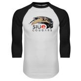 White/Black Raglan Baseball T-Shirt-SIUE Cougars Official Logo Distressed