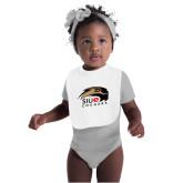 White Baby Bib-SIUE Cougars Official Logo